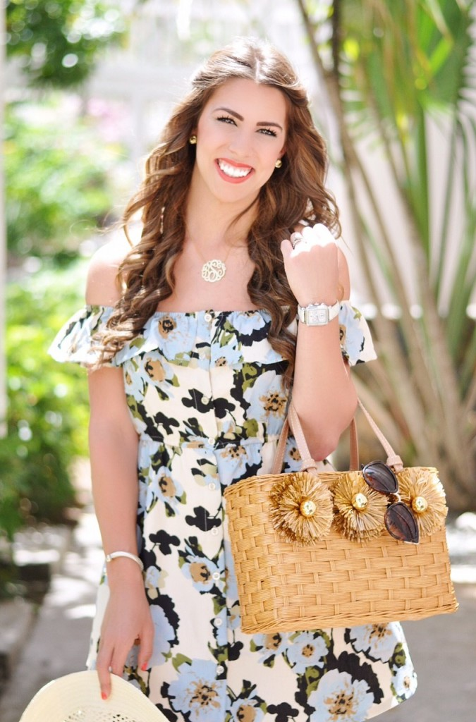 lovely blue hues, blue off the shoulder dress, j.o.a. off the shoulder dress, light blue and white off the shoulder dress, spring dresses, spring outfit inspo, spring outfit ideas, nordstrom sun hat, sam edelman shoes, heres the skinny, heres-the-skinny, st. thomas vacation, here's the skinny blog, heres the skinny, the skinny blog, bailey schwartz blog, charlotte nc fashion blogger, charlotte nc blogger, charlotte fashion blogger