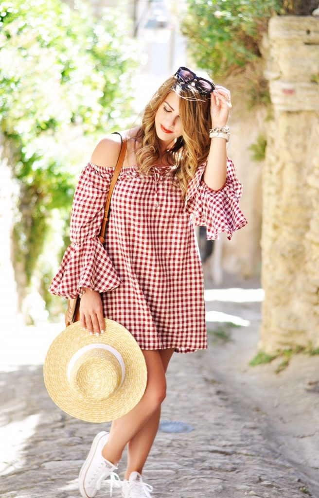 gorgeous gordes, red gingham dress, gingham in gordes, gingham dress, gingham off teh shoulder dress, converse shoes, boater hat, red gingham, picnic table dress, off the shoulder dress, boho dress, boho fashion, boho outfit inspo, summer outfit ideas, summer outfit inspo, summer outfit, here's the skinny, gordes france, travel to gordes, travel to south of france, provence travel guide, south of france provence travel, heres-the-skinny, heres the skinny, here's the skinny blog, the skinny blog, here's the skinny by bailey schwartz, bailey schwartz blog, charlotte nc fashion blogger, charlotte fashion blogger, charlotte nc blogger