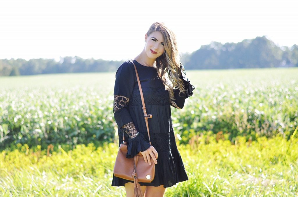 black beauty, black boho dress, tularosa berkeley crochet dress, crochet dress, lace dress, bell sleeve dress, brown tassel purse, vince camuto purse, brown booties, fall fashion, fall outfit inspo, fall outfit ideas, charlotte fashion blogger, charlotte nc blogger, charlotte fashion, heres the skinny, here's the skinny, the skinny blog, here's the skinny by bailey schwartz, @baileyschwartz, bailey schwartz blog