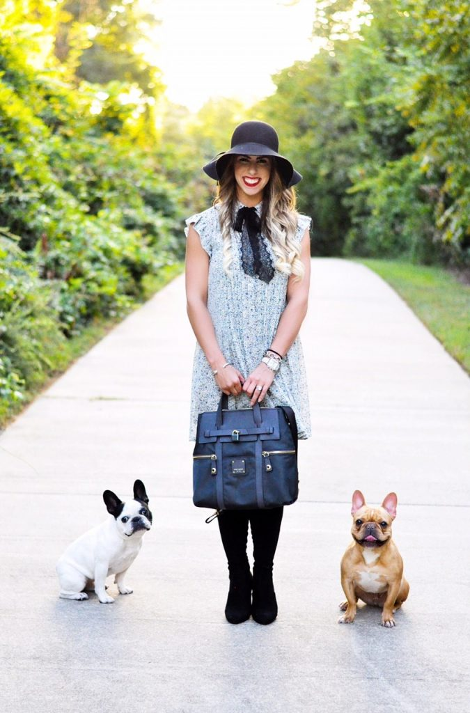 Tie Neck Dress with Lola and Henry, blue tie neck dress, henri bendel backpack bag, henri bendel bag, fall fashion, black over the knee boots, french bulldogs, french bulldog fashion photo, blue tie neck wayf dress, black floppy hat, blue floral dress, here's the skinny, here's the skinny blog, bailey schwartz blog, charlotte fashion blogger, steve madden emotion boots, here's the skinny by bailey schwartz
