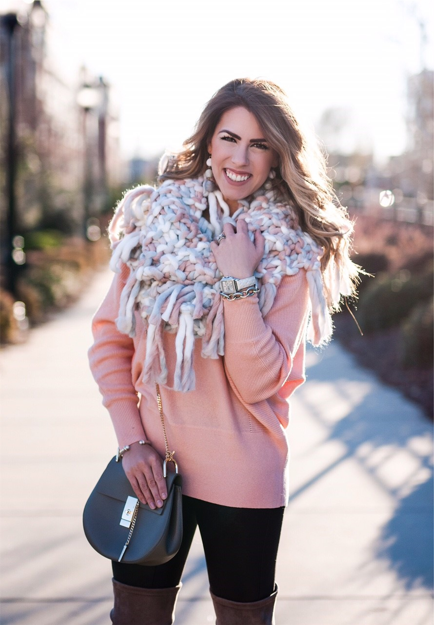 Chunky Pink Scarf Daily With Bailey
