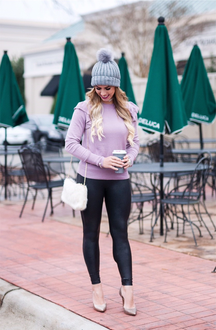 lovely lavender, lovely lavender sweater, ruffle purple sweater, bp ruffle purple sweater, purple beanie, gray beanie, baublebar rhinestone choker, spanx faux leather leggings, faux fur purse, white fur purse, winter fashion, winter outfit inspo, here's the skinny, the skinny blog, here's the skinny by bailey schwartz, bailey schwartz blog, charlotte fashion blogger, charlotte blogger