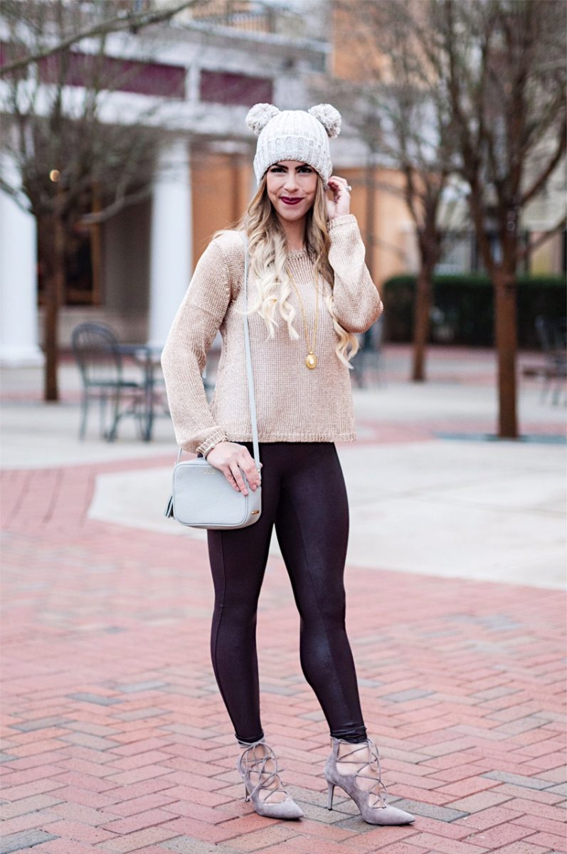double pom pom beanie, pom pom beanie, spanx wine faux fur leggings, gold metallic sweater, lace up gray vince camuto heels, julie vos pendant necklace, gigi new york purse, winter fashion, winter outfit ideas, winter outfit inspo, here's the skinny, the skinny blog, here's the skinny by bailey schwartz blog, charlotte fashion blogger, charlotte nc blogger, charlotte blogger
