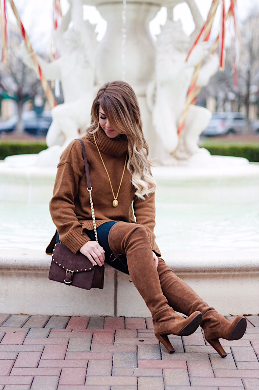craving chocolate, chocolate sweater, chocolate purse, stuart weitzman highland boot, rebecca mink off purse, all chocolate everything, chocolate fashion, fall fashion, fall outfit inspired, turtleneck sweater, chocolate turtleneck sweater, julie vos necklace, winter fashion, winter outfit inspiration, here's the skinny, the skinny blog, here's the skinny by bailey schwartz, bailey schwartz blog, charlotte fashion blogger, charlotte nc blogger, charlotte blogger