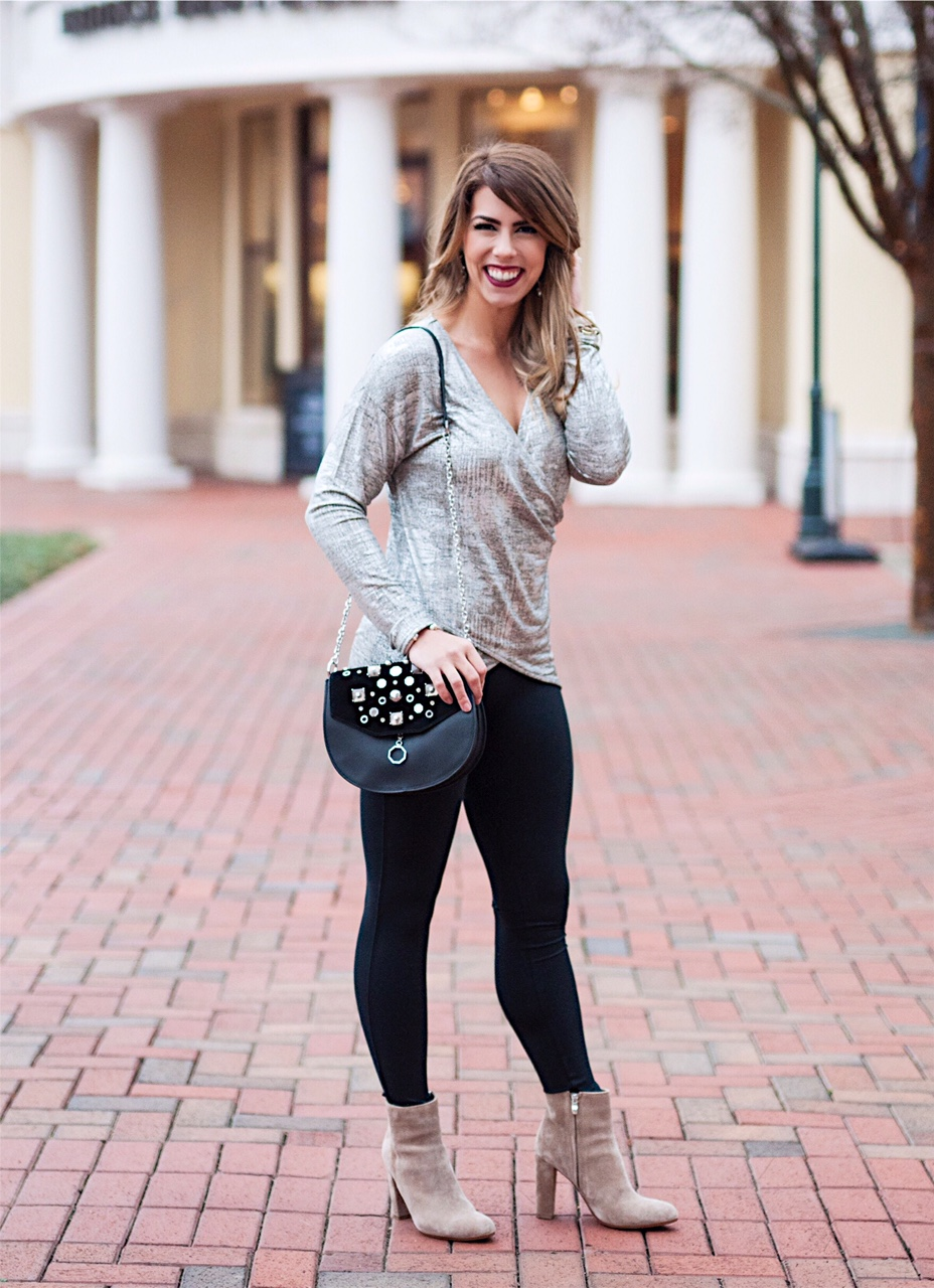 metallic glam, metallic twist top, silver metallic top, vince camuto rhinestone purse, vince camuto black purse, gray booties, spanx essential black leggings, new years even outfit inspiration, new years eve outfit, what to wear on new years eve, winter fashion, winter outfit, here's the skinny, the skinny blog, here's the skinny by bailey schwartz, charlotte fashion blogger, charlotte blogger