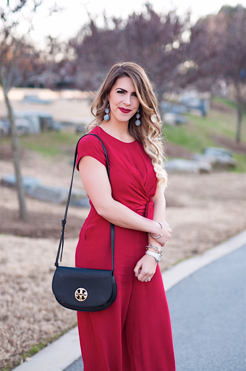 christmas jumpsuit, red jumpsuit, tie waist jumpsuit, tory burch black clutch, baublebar crispin drops, anthropologie jumpsuit, midi jumpsuit, christmas red jumpsuit, winter fashion, winter outfit inspiration, here's the skinny, the skinny blog, here's the skinny by bailey schwartz, bailey schwartz blog, charlotte fashion blogger, charlotte blogger, charlotte nc blogger