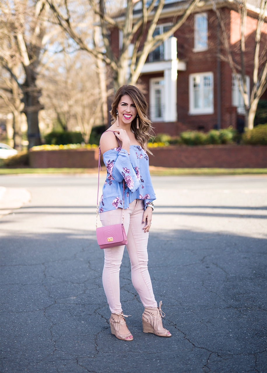 blushing in lavender, lavender off the shoulder top, astr off the shoulder top, pink jeans, pink distressed jeans, blanknyc pink jeans, gigi new york pink purse, cream wedges, pink lipstick, spring fashion, spring outfit details, spring outfit inspo, here's the skinny, the skinny blog, here's the skinny by bailey schwartz, charlotte fashion blogger, charlotte blogger, spring outfit inspo, lavender and blush, blush pants
