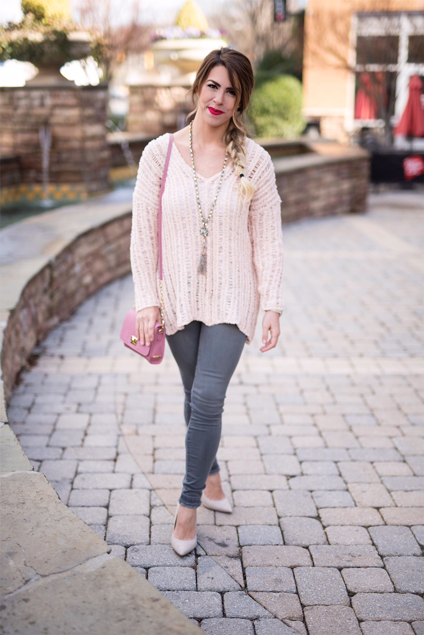 a movie valentine, what to wear to a movie date, a movie valentine's date, a casual valentines date, pink sweater, cutout pink sweater, gray jeans, gigi new york pink purse, cream pointed toe heels, pointed toe pumps, here's the skinny, the skinny blog, here's the skinny by bailey schwartz, charlotte fashion blogger