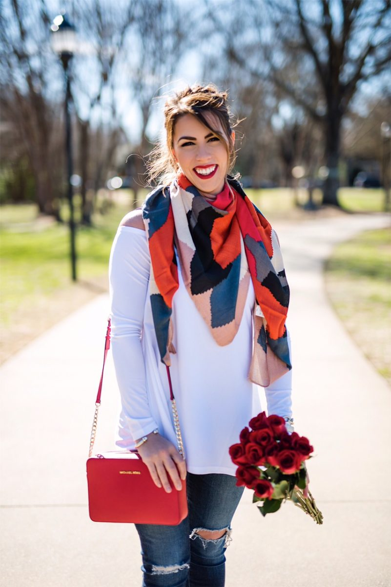 a surprise valentine, suprise valentine's day, what to wear when you're surprised on valentine's day, white off the shoulder top, red geometric print scarf, red purse, valentine's day fashion, what to wear on valentine's, cute valentine's day outfits, charlotte fashion blogger, here's the skinny blog, the skinny blog, here's the skinny by bailey schwartz