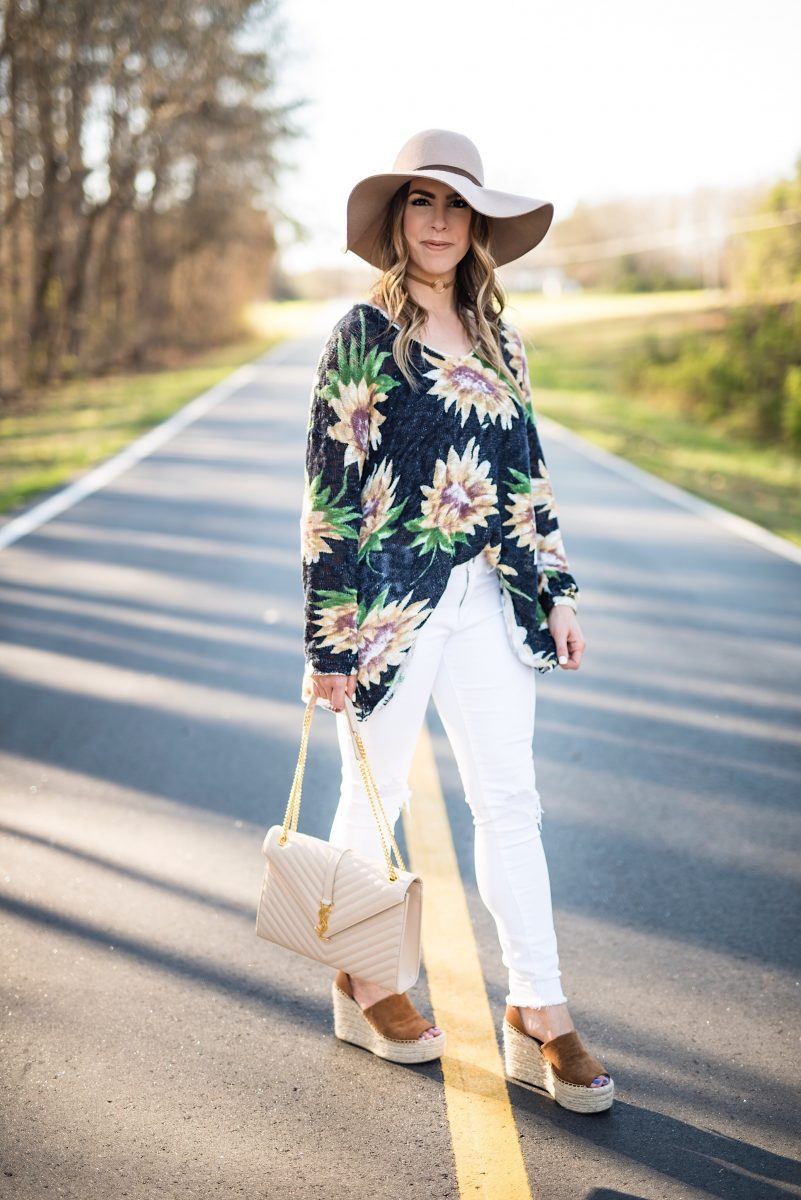 sunflower sweater, showmeyourmumu, spring sweater, sunflower top, sunflower pattern, floppy felt hat, white distressed jeans, ysl envelope purse, marc fisher wedges, spring fashion, floral fashion, spring outfit ideas, spring style