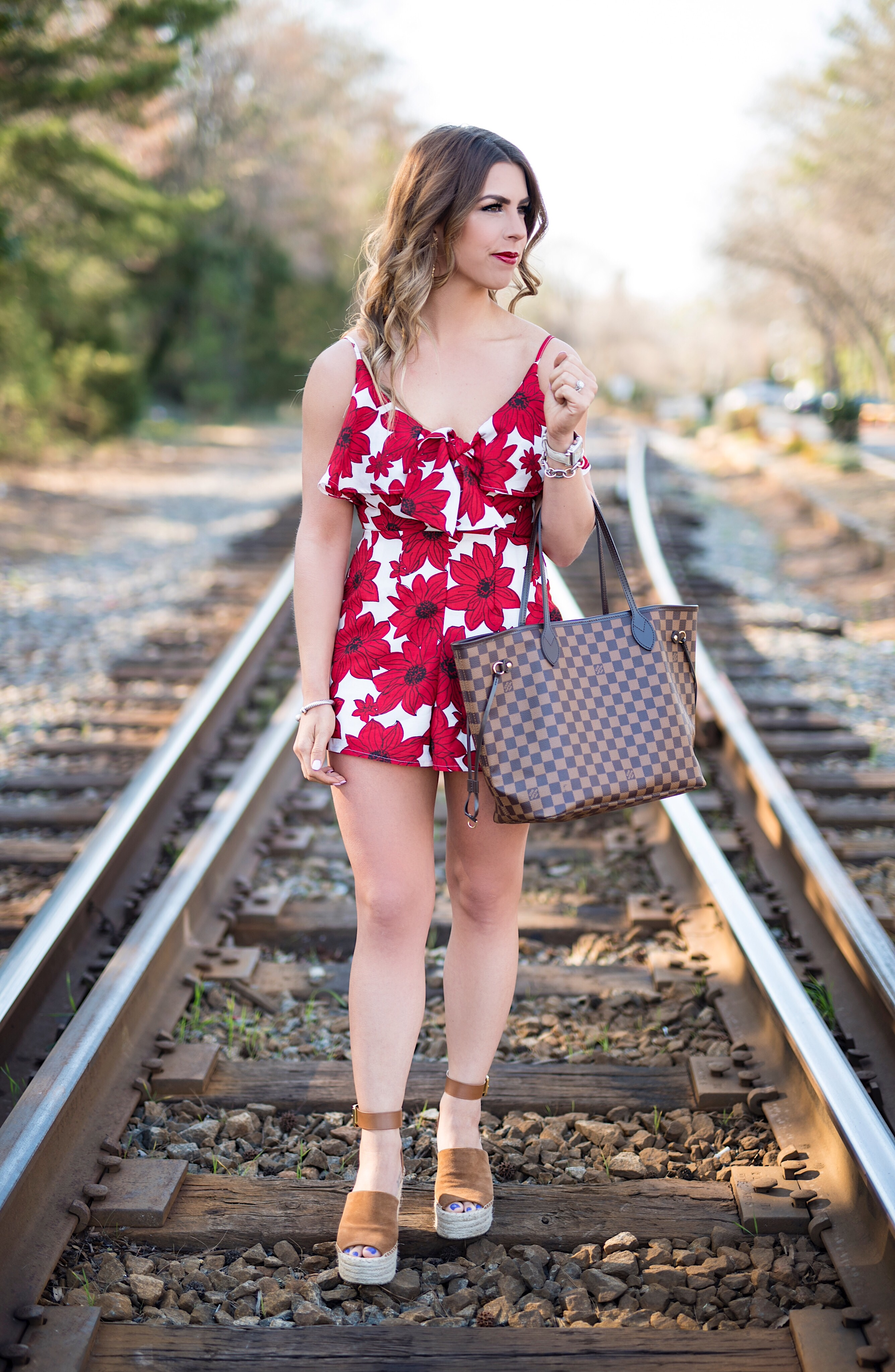 poppy romper, red romper, red floral romper, louis vuitton neverful, brown wedges, red florals, liketoknow.it app, the liketoknowit app, how to use the liketoknow.it app, why should i sign up for liketoknow.it, rewardstyle, rewardstyle bloggers, the liketoknowit app launch, liketoknow.it faq, questions regarding liketoknow.it, liketoknow.it faq