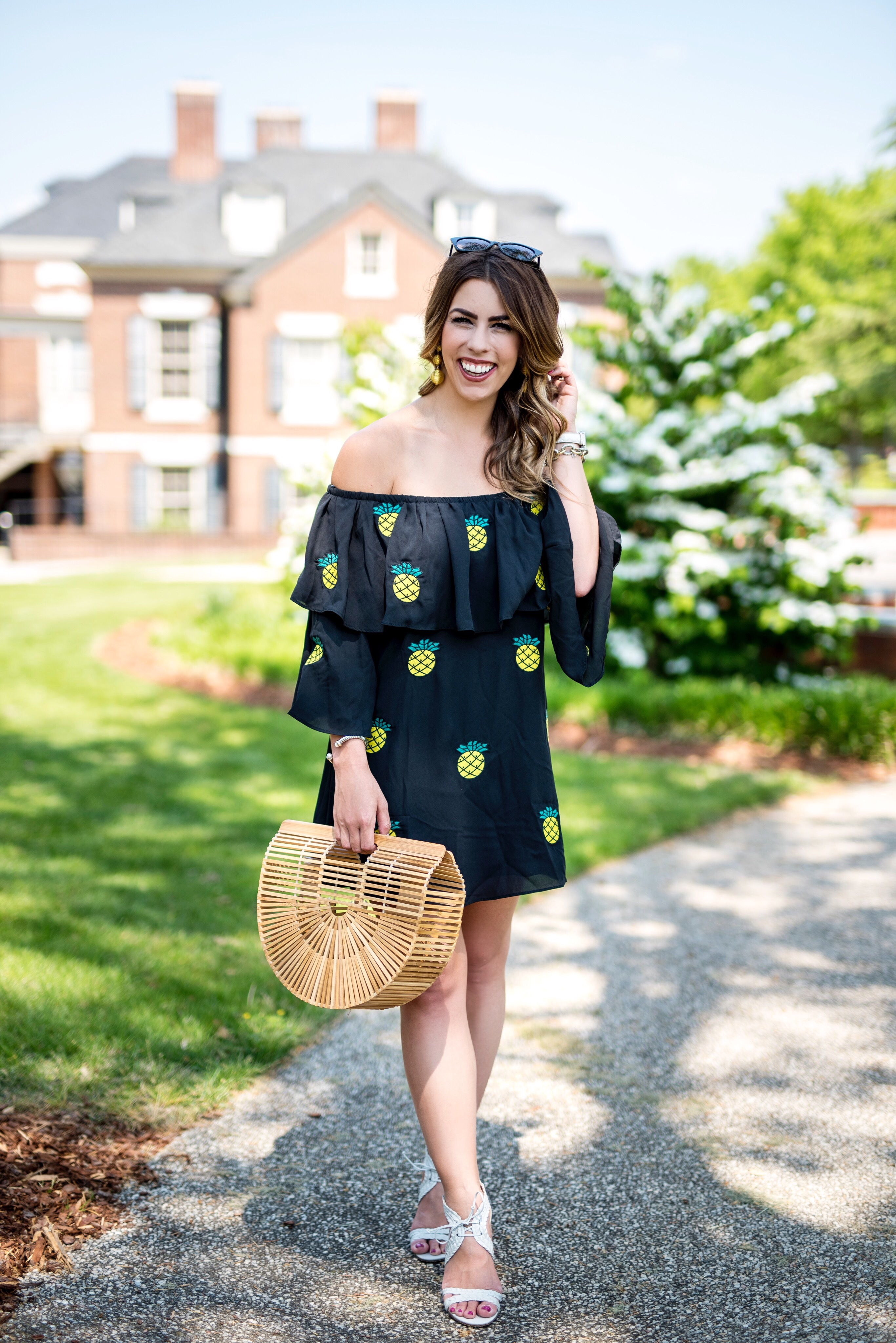 pineapple dress black pineapple dress off the shoulder dress off the shoulder fruit dress basket purse passion for pineapples vava by joy han pineapple dress spring fashion spring outfit idea charlotte fashion blogger charlotte nc blogger