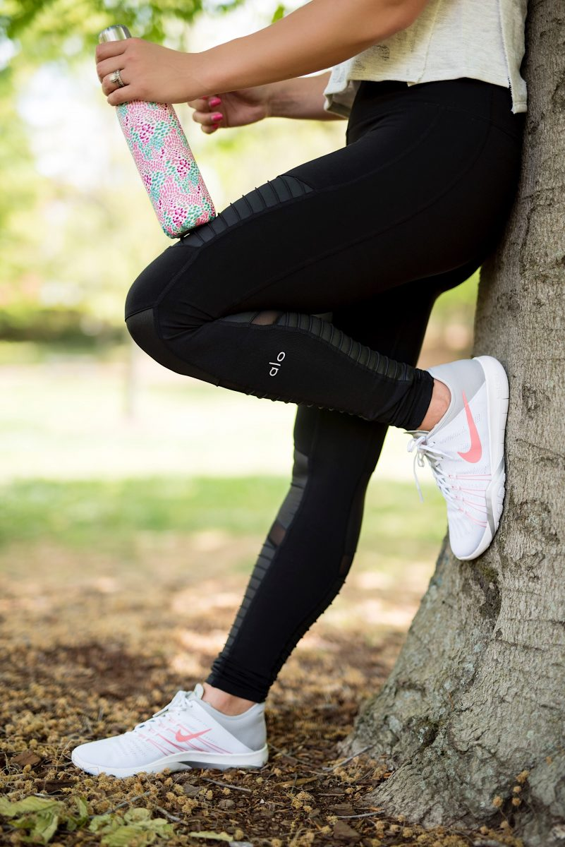 workout routine how to stay fitness motivated top 5 tips for staying fitness motivated fitness style what to wear to the gym my favorite workout routines how to make yourself go to the gym alo leggings alo yoga pants white crop top swell bottle workout wear fitness motivation fitness style