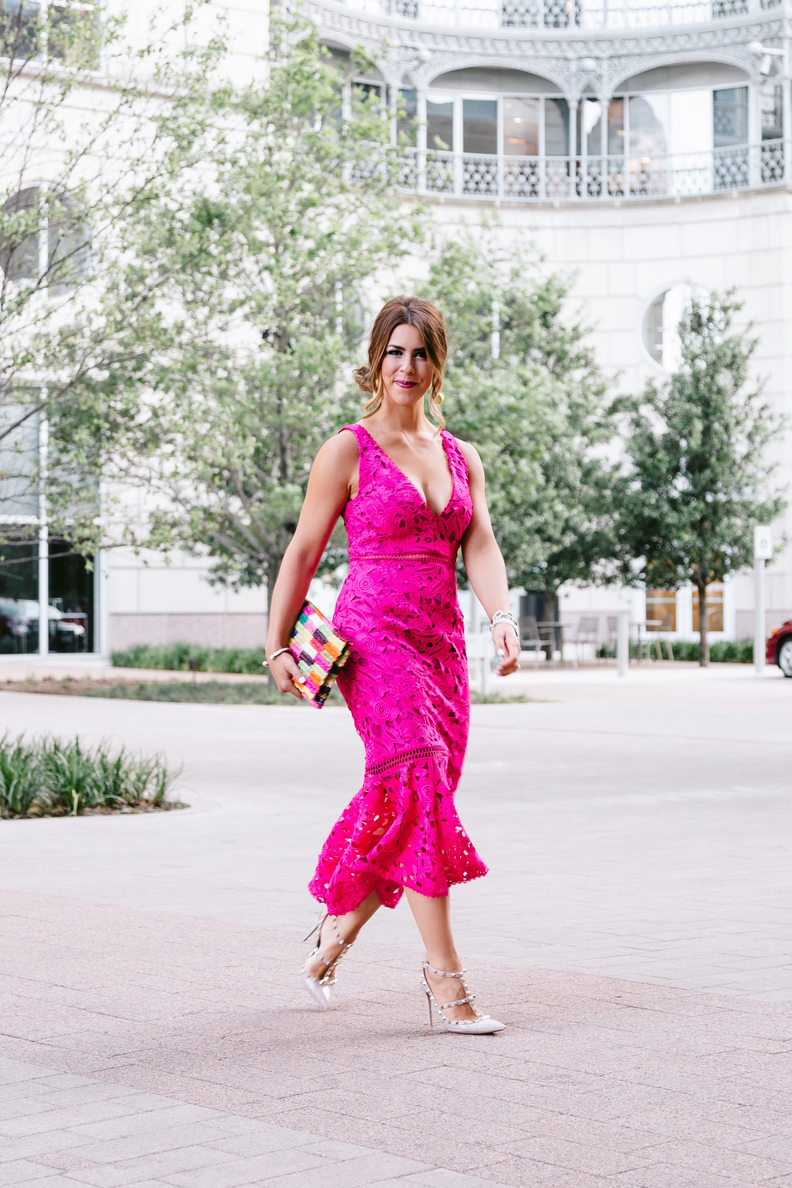 #rsthecon finale party liketoknow.it launch party rewardstyle party rewardstyle blogger rewardstyle fashion week pink peplum dress pink lace dress pink midi dress nicholas dress hot pink dress hot pink lace dress fuchsia dress fiesta dress formal dress what to wear to a wedding colorful clutch valentino rockstud pumps valentino heels hair updo formal updo formal hairstyle wedding hairstyle