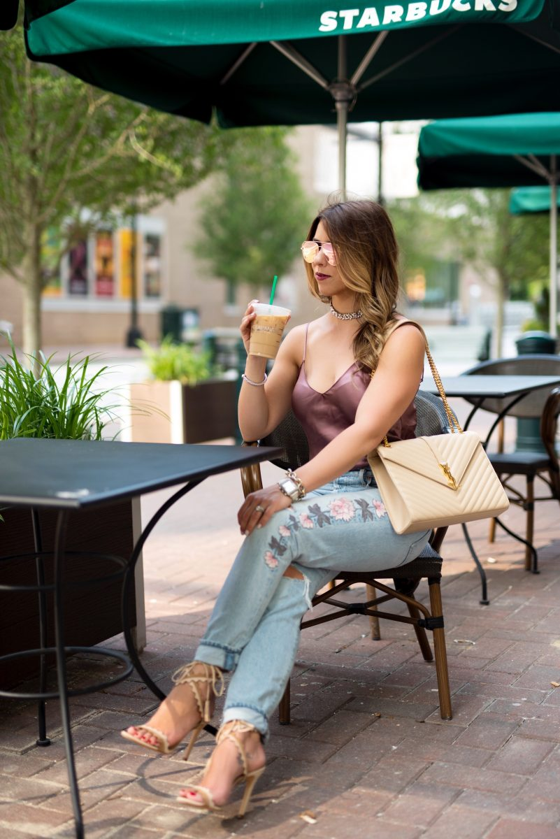 coffee break at starbucks silk cami silk camisole embroidered jeans citizen jeans ysl purse edgy outfit edgy fashion street style at starbucks edgy street style