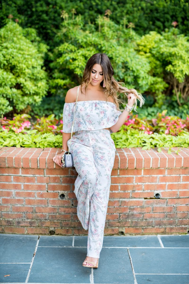 vintage florals two piece set jumpsuit floral jumpsuit pastel fashion pastel outfit wayf floral jumpsuit a day at the greenbrier travel to greenbrier lavender jumpsuit vintage floral fashion crop top jumpsuit what to do at the greenbrier