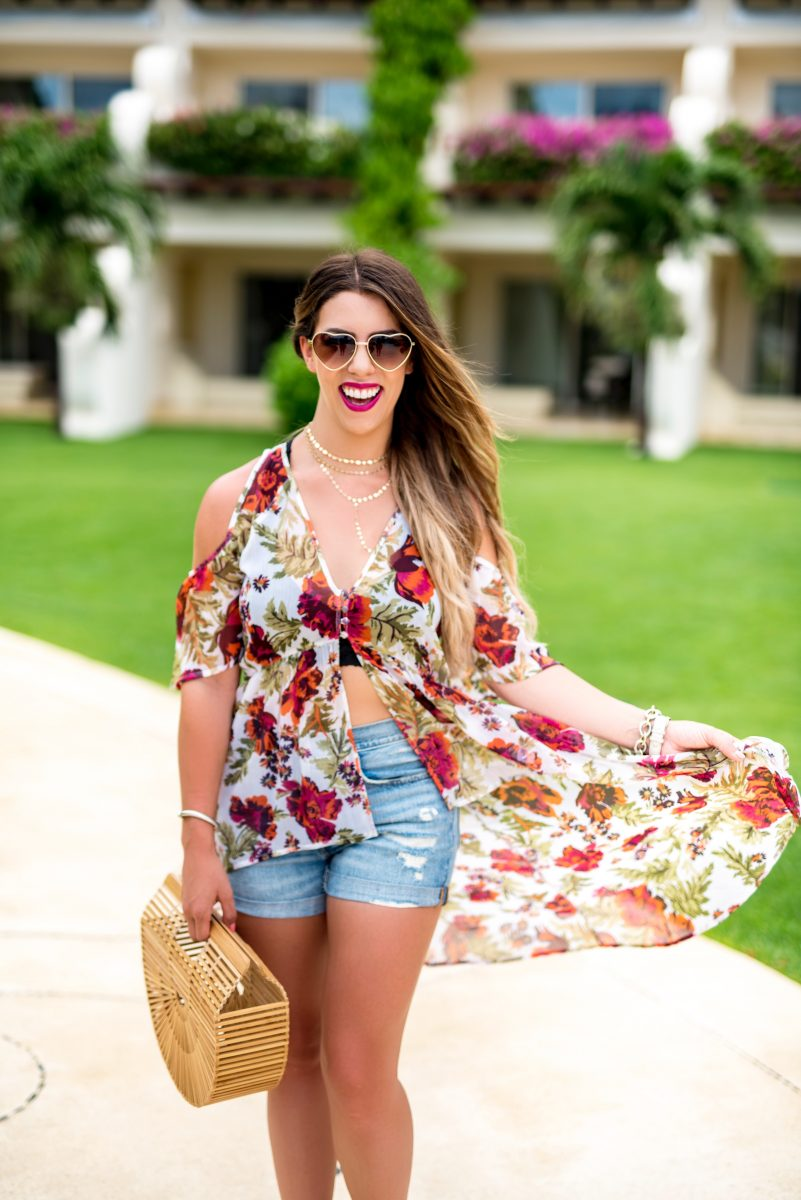 boho in mexico boho style what to wear in mexico boho fashion boho outfit heart shaped sunglasses bralette basket bag cult gaia bag bohemian style free people bralette grand velas riviera maya grand velas resorts