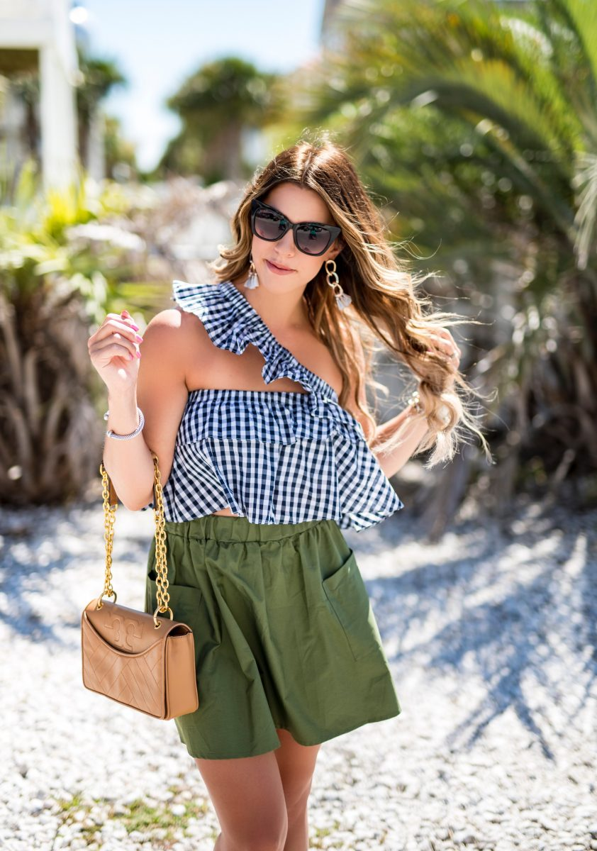 green and gingham gingham crop top green skirt tory burch purse comfortable green skirt olive skirt beach fashion what to wear to the beach off the shoulder gingham crop top cat eye sunglasses ocean isle beach what to wear on vacation summer style inspiration @baileyschwartz at the beach
