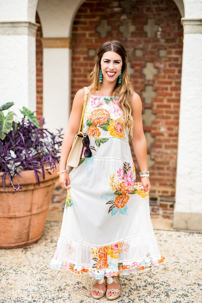 pom pom and floral maxi dress pom pom maxi dress floral maxi dress summer fashion summer style summer outfit ideas the perfect maxi dresses for summer anthropologie maxi dress ysl purse