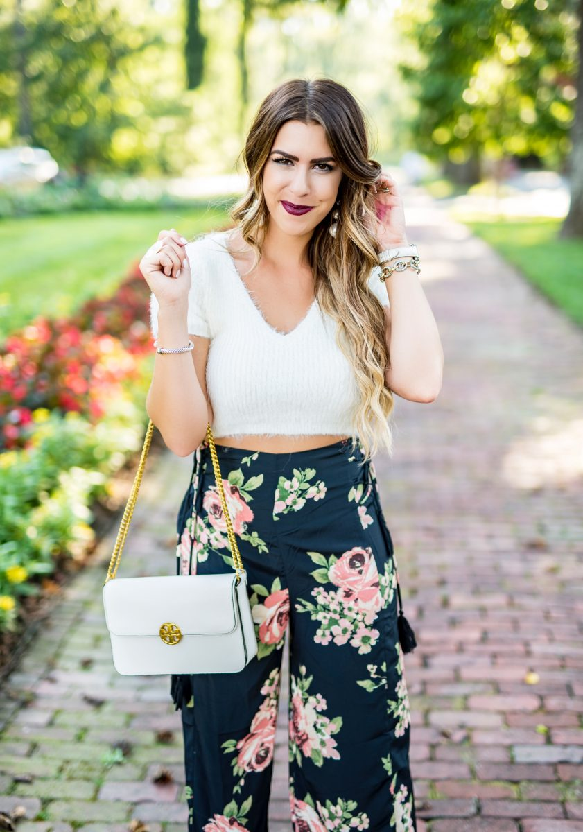 white cropped sweater black floral pants boho fashion boho style fall style fall fashion black pants flowy floral pants fuzzy cropped sweater majorelle cropped sweater biltmore trip to biltmore house photos of the biltmore house