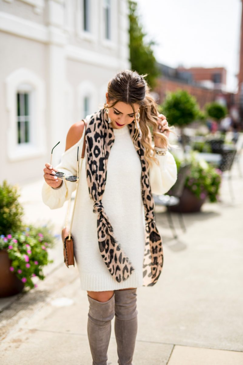 collaboration over competition white sweater dress cutout sweater dress over the knee boots stuart weitzman boot leopard scarf fall scarf