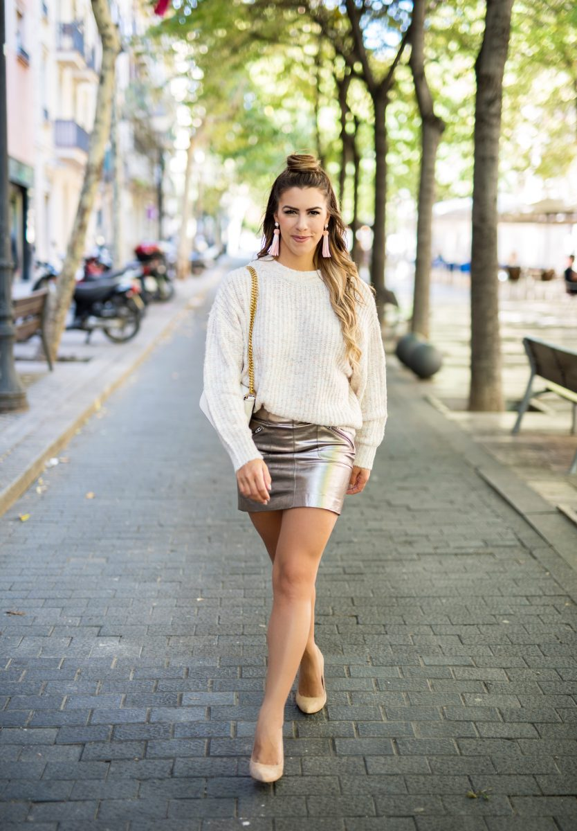 hello october metallic skirt rose gold skirt pink sweater cozy fall sweater lovers+friends sweater travel to barcelona spain trip to spain what to do in barcelona spain fall fashion fall outfit ideas fall outfit inspo