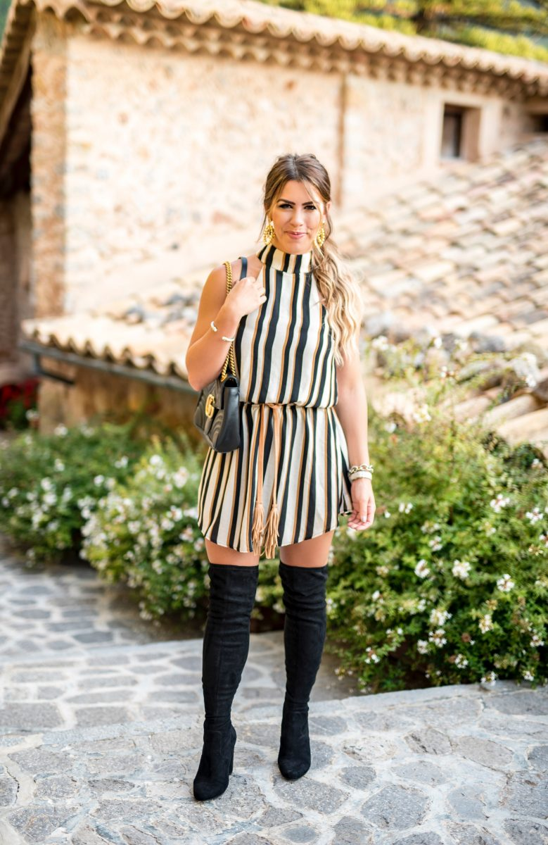 black and camel striped dress striped dress gucci purse black over the knee boots fall dress fall fashion fall outfit ideas brown belt comfortable dress fashion blogger style