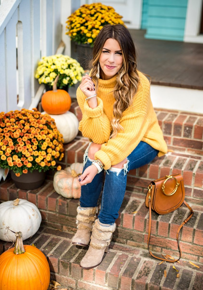 how to decorate your front porch for fall fall front porch decor pumpkins and mums on front porch fall decor fal porch decor yellow sweater free people sweater distressed skinny means chloe purse bulky sweater oversized sweater fall front porch fashion blogger front porch