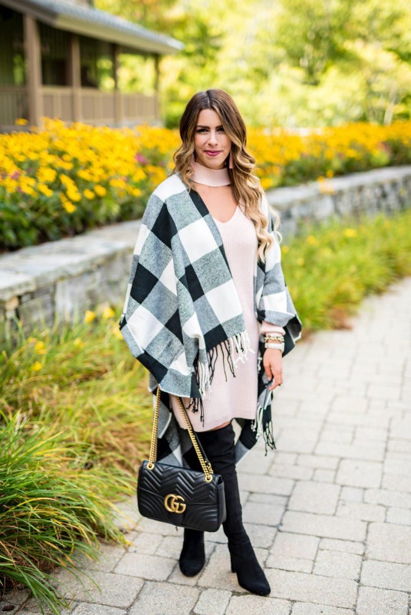 pink sweater dress buffalo check scarf blush sweater dress cozy sweater dress fall dress buffalo check poncho black gucci purse black over the knee boots fall outfit fall fashion fashion blogger fall style stowe mountain lodge