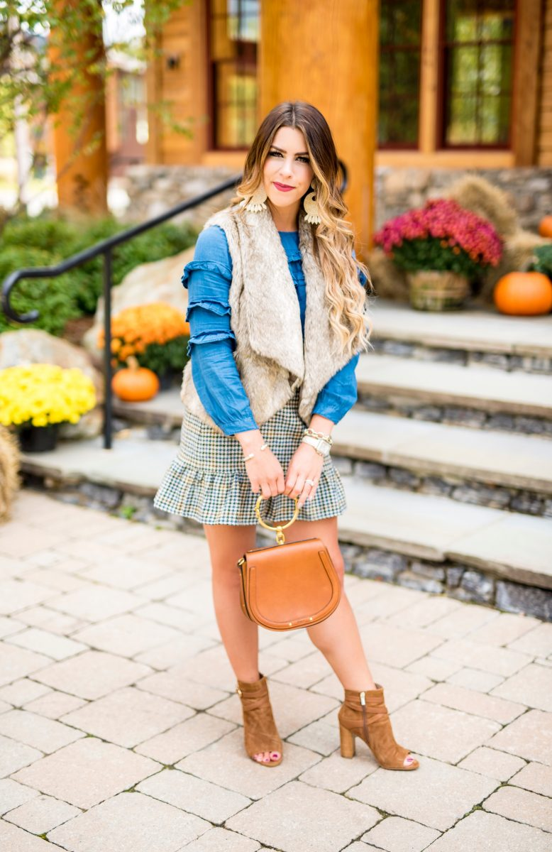 jcrew plaid skirt chambray shirt deim top chloe purse bb dakota fur vest fall outfit brown booties fall fashion fashion blogger fall style fall days in vermont stowe mountain lodge