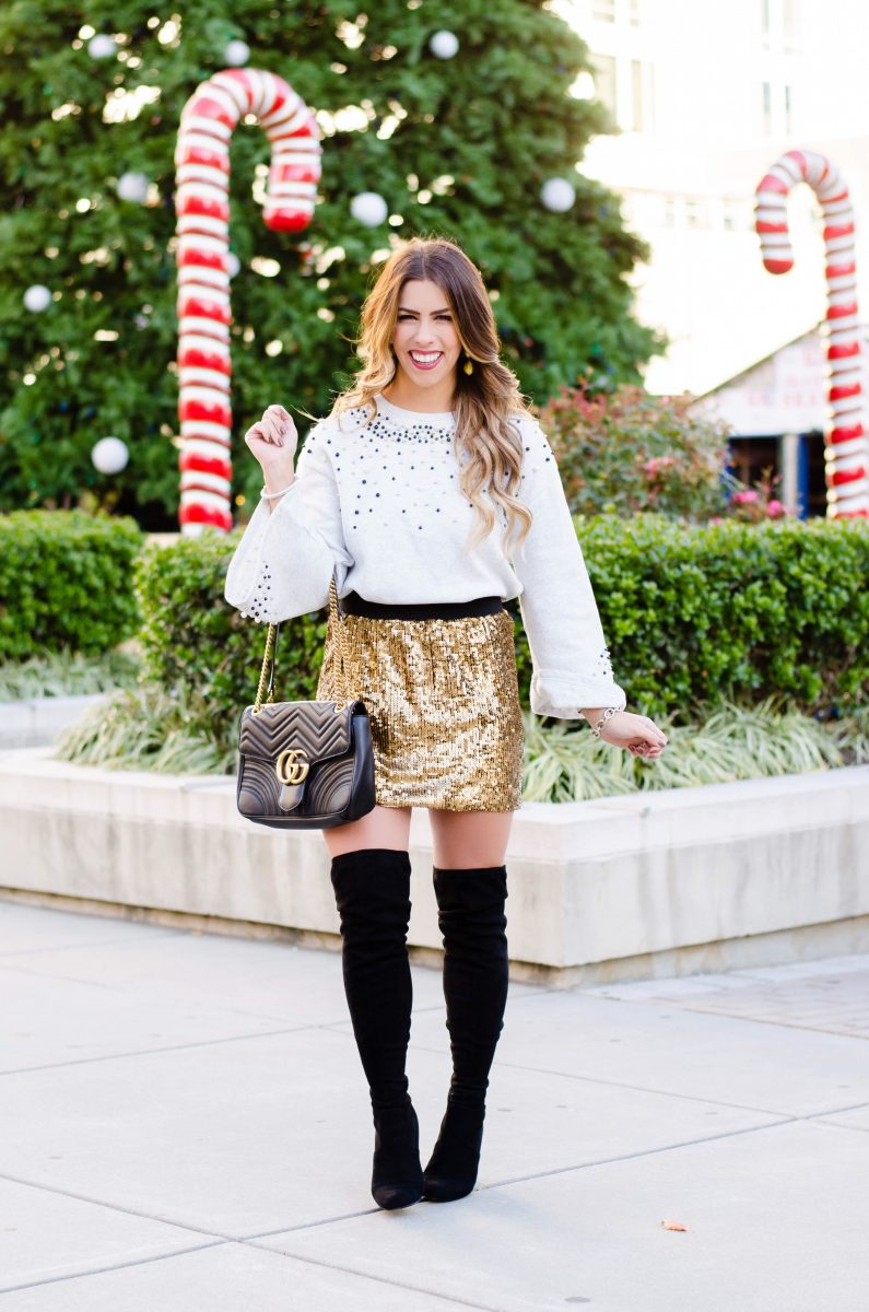 sequin holiday style gold sequin skirt sequin sweater shirt top gucci purse sequin skirt holiday looks with sequins over the knee boots what to wear to a holiday party cute looks for holiday parties holiday party outfit inspiration