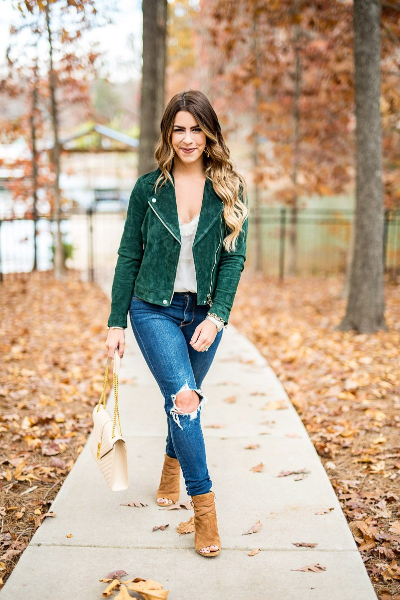 green moto jacket olive moto jacket olive green suede jacket fall style fall fashion fall outfit inspo distressed jeans distressed denim blanknyc suede moto jacket green suede jacket fashion blogger fall fashion