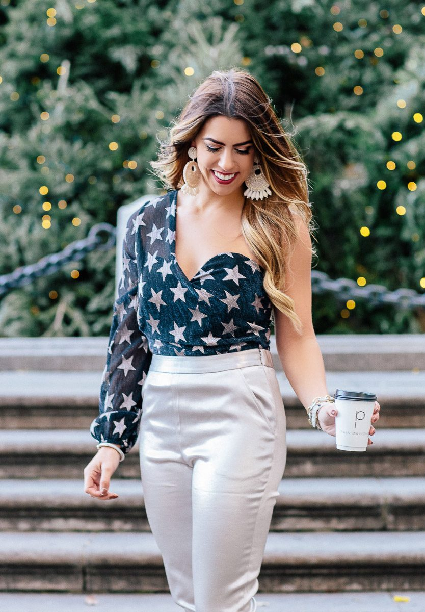 holiday stars in nyc stars bodysuit metallic pants silver pants holiday style holiday outfit what to wear for the holidays new years eve outfit ideas new years eve style fashion blogger new years eve looks topshop stars bodysuit