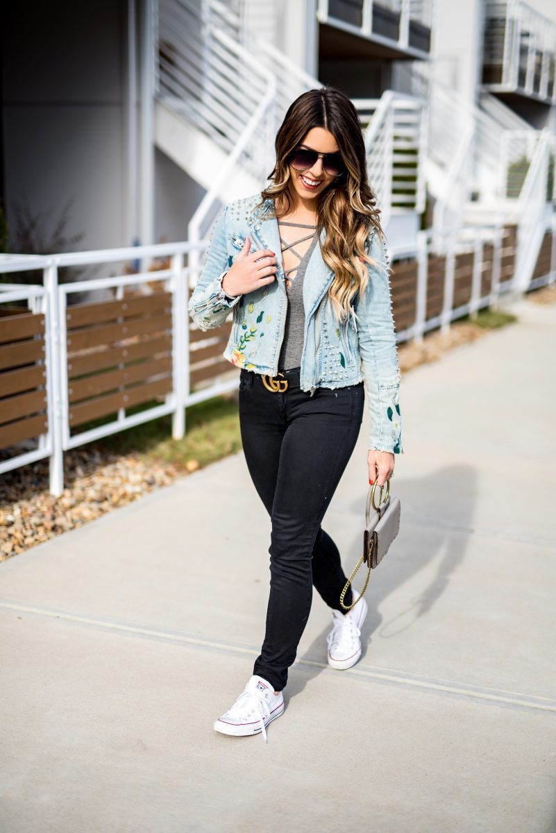 embroidered jean jacket gray bodysuit black jeans gucci belt blanknyc jacket jean jacket quay sunglasses fashion blogger winter style rebecca minkoff purse black jeans cute jean jackets favorite bodysuits