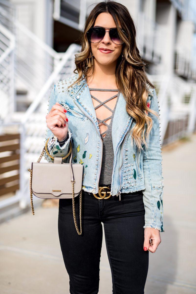 embroidered jean jacket gray bodysuit black jeans gucci belt blanknyc jacket jean jacket quay sunglasses fashion blogger winter style rebecca minkoff purse black jeans cute jean jackets favorite bodysuits