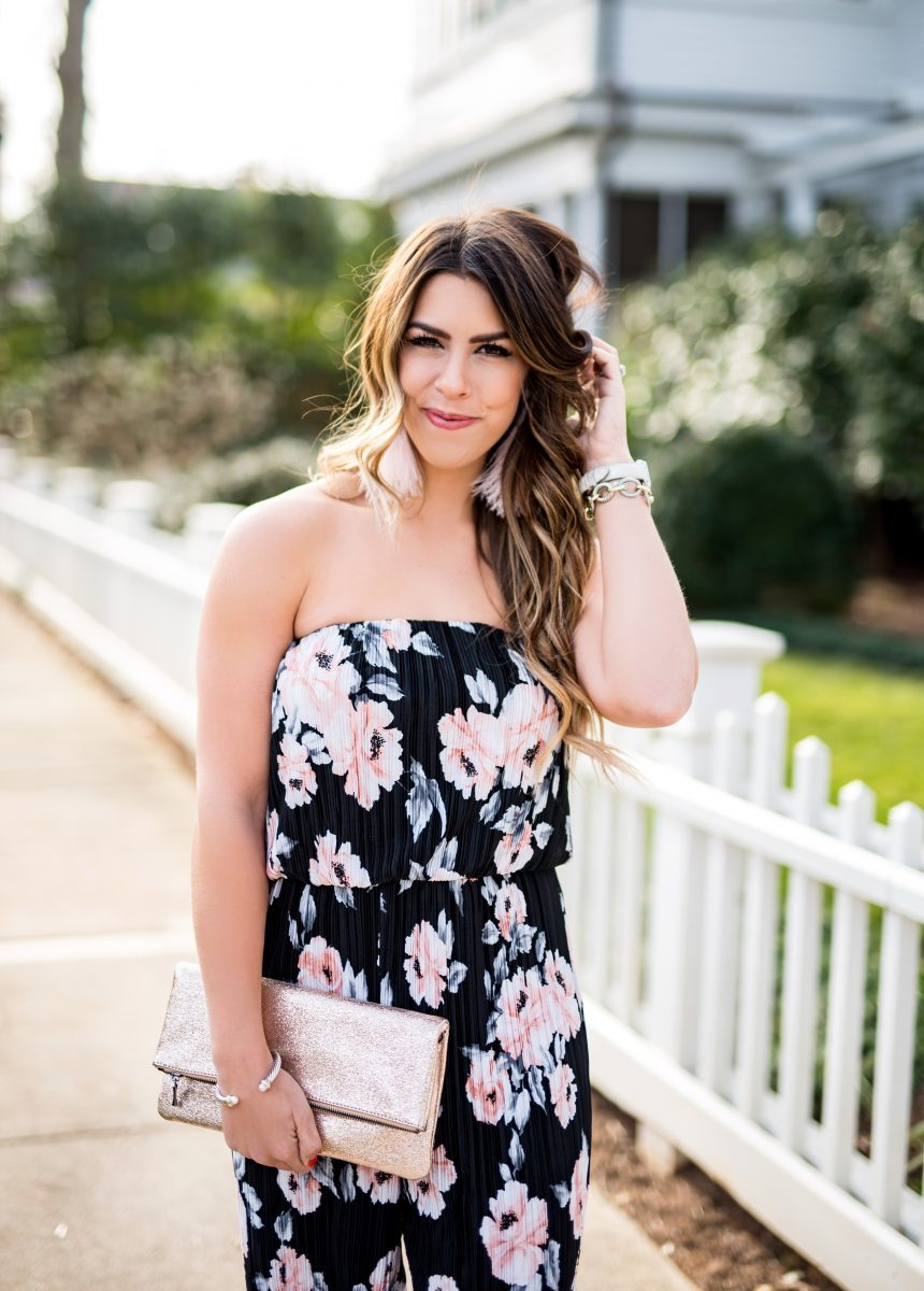 floral jumpsuit for valentines day what to wear on valentines day valentines day outfit inspo spring jumpsuit floral jumpsuit glitter clutch sole society clutch bevello jumpsuit black and pink jumpsuit fashion blogger valentine's day outfit