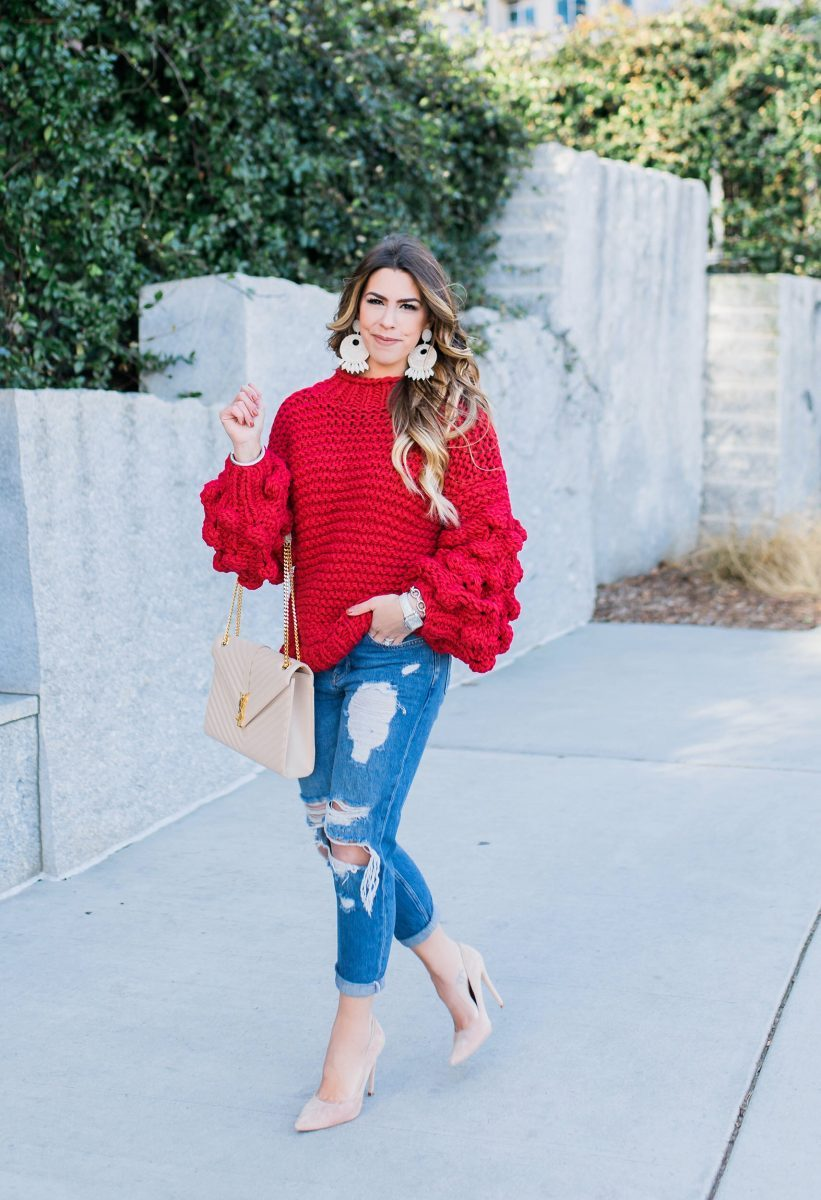 red pom pom sweater mumushandmade goodnight macaroon clora pom pom sweater red sweater ysl purse boyfriend jeans best boyfriend denim sweater weather casual fashion blogger casual style bright red sweater oversized sweater bulky sweater distressed jeans distressed denim