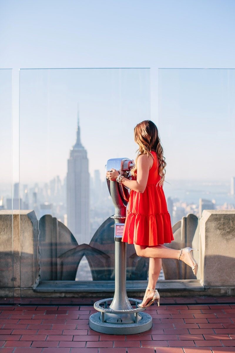 2017 in review and 2018 goals and resolutions top of the rock here's the skinny blog blog goals in 2018 business goals in 2018 personal goals in 2018 red dress photos top of the rock anthropologie dress dsw glitter heels faux fur clutch top of the rockefeller center view from top of the rock empire state building view