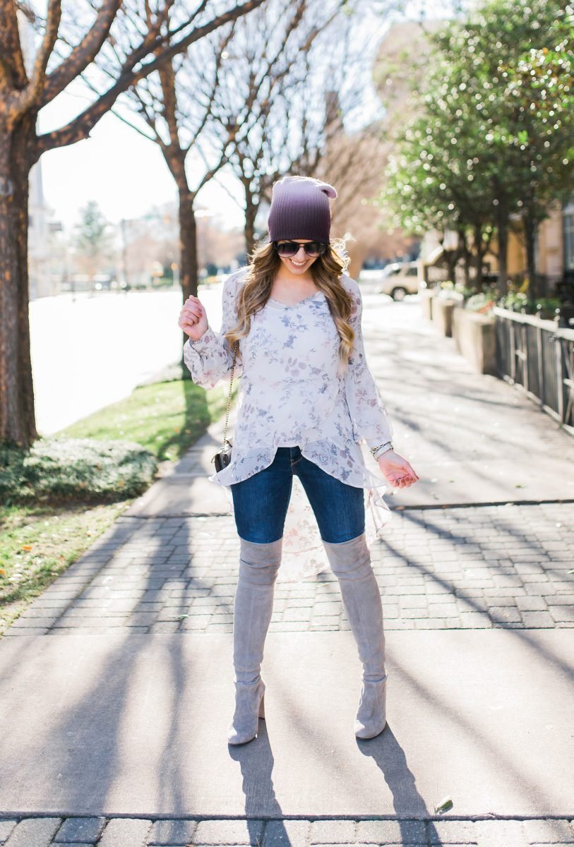 floral flutter top leith high low top leith floral top pastel floral top valentines day outfit inspo ombre beanie over the knee boots spring fashion spring outfit details spring outfit inspo