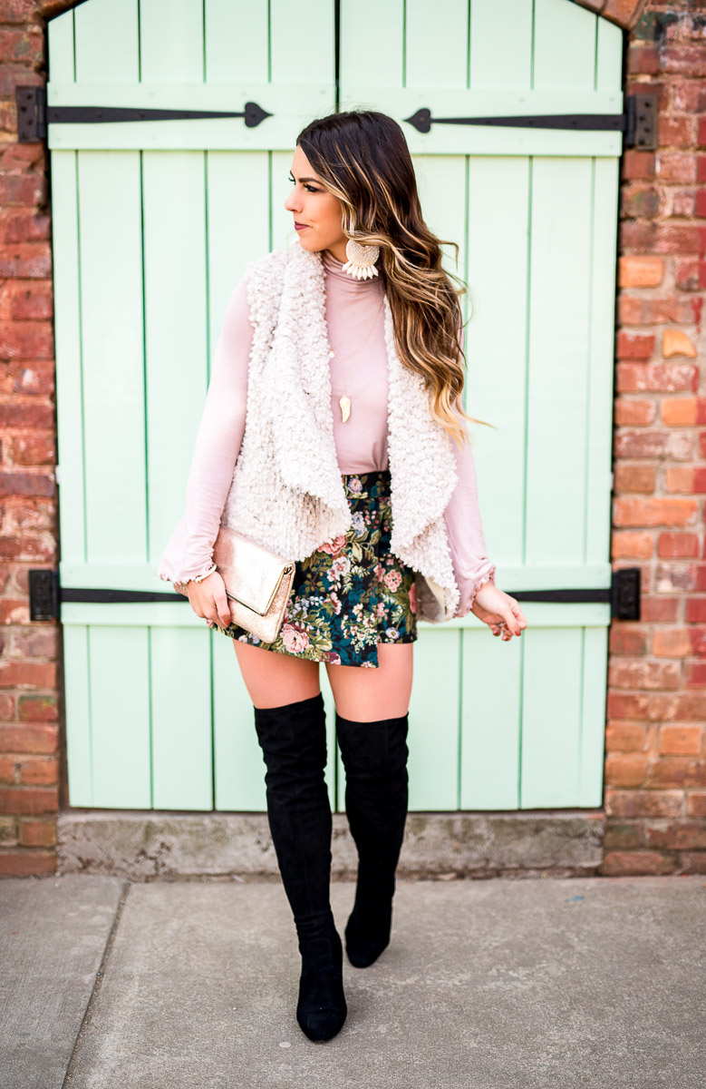 brocade skort the coziest fur vest leith skort from nordstrom black over the knee boots blush bell sleeve top spring fashion spring outfit spring fashion blogger outfit inspiration glitter clurch