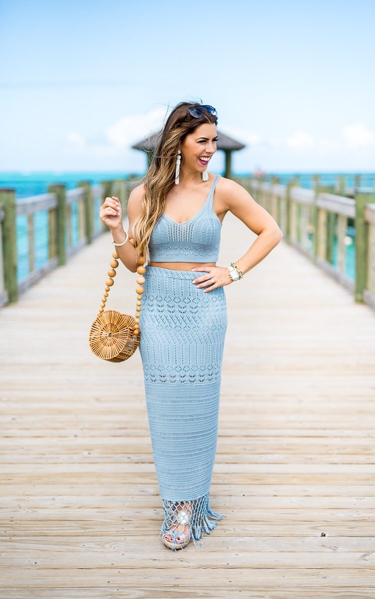 crushing for crochet two piece set light blue crochet outfit house of harlow crochet two piece set light blue crochet outfit inspiration for coachella what to wear to coachella outfit inspiration crochet crop top crochet skirt blue crochet crop top boho fashion boho outfit inspiration