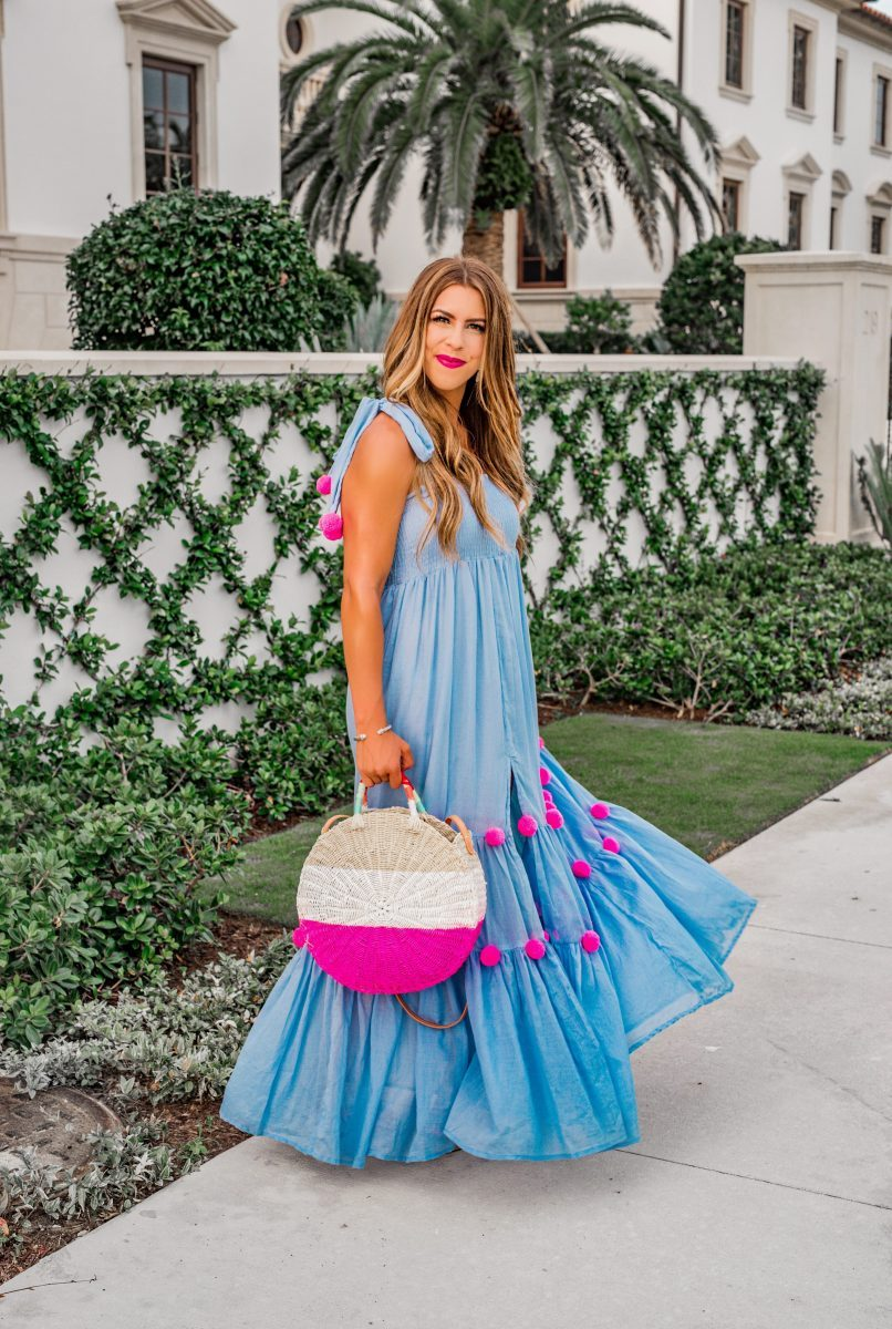 pom pom maxi in palm beach sundress pippa dress blue maxi dress the best dresses for summer wedding spring wedding dress pom pom maxi dress hot pink beach bag hot pink lipstick the brazilian court hotel palm beach where to stay in palm beach beautiful maxi dresses