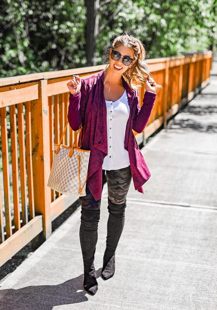 summer in seattle nsale favorites nordstrom anniversary sale burgundy drape jacket blanknyc drape jacket socialite thermal tee spanx camo leggings black over the knee boots nordstrom anniversary sale favorites best of the nordstrom anniversary sale
