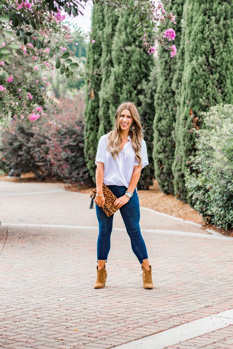 best of the best in Charlotte nc best restaurants in Charlotte nc the best beauty business in Charlotte nc my favorite Charlotte business vendors where to get your hair done in Charlotte best salons in Charlotte nc simple white top jeans booties leopard clutch