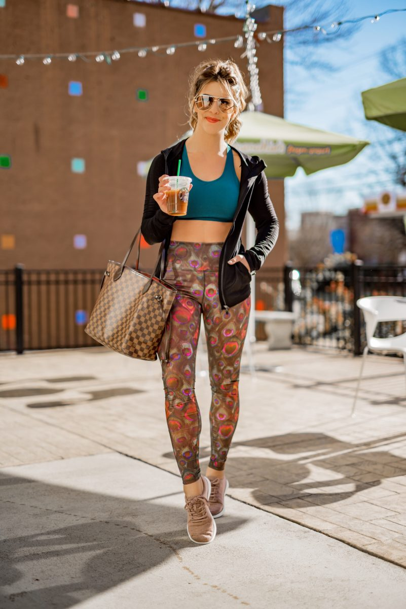 what I eat in a day new year new me healthy eating what to eat in a day to eat healthy eating habits what to eat in a day to lose weight Fabletics workout gear peacock print leggings peacock working leggings