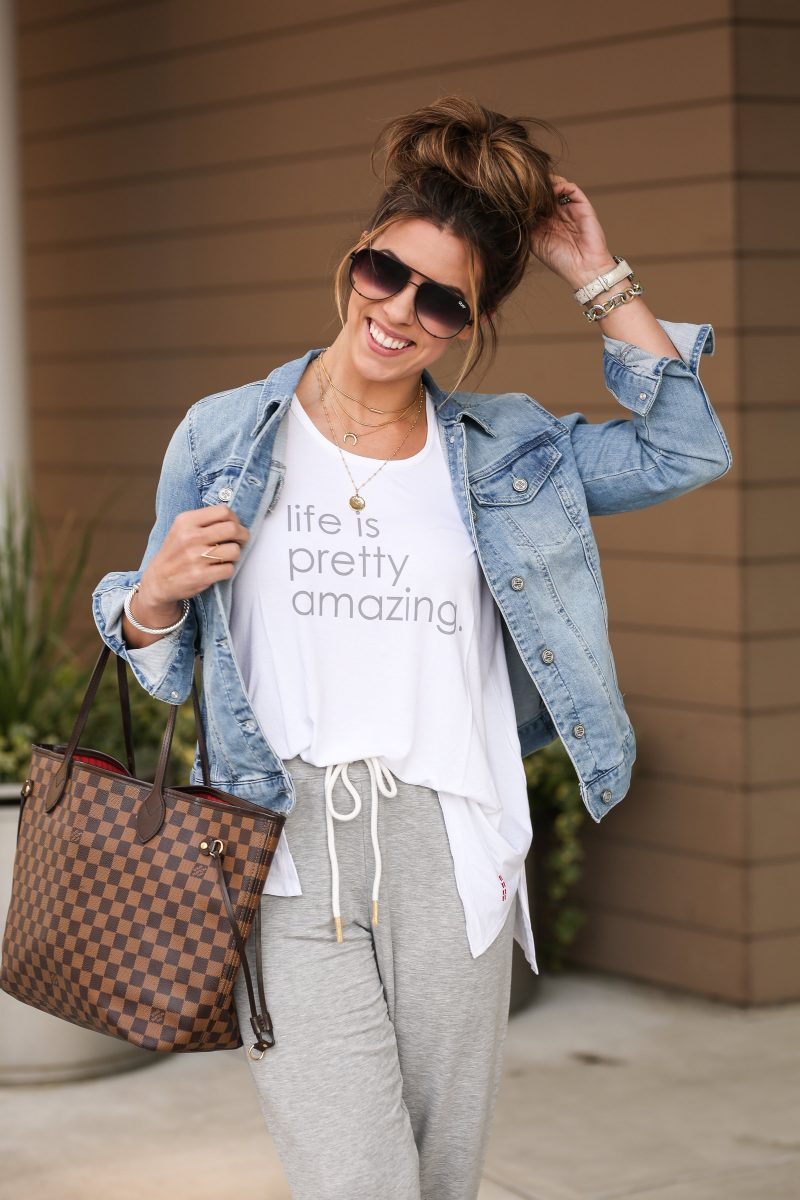 celebrating international women's day with QVC casual style casual joggers life is pretty amazing t shirt jean jacket how to style joggers joggers on QVC causal fashion inspiration QVC fashion #qvcfashion