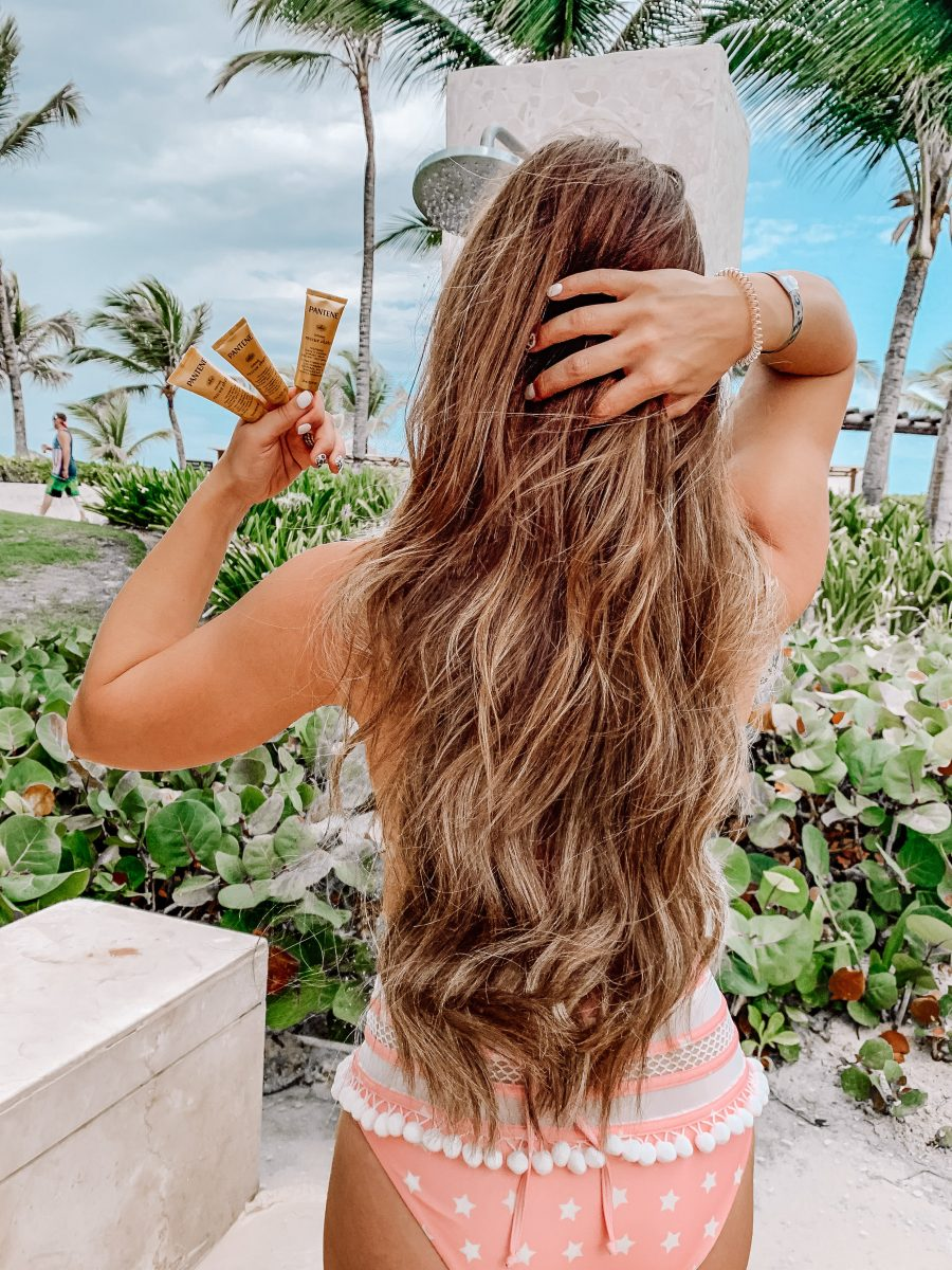 rescuing my hair with Pantene rescue shots how to revive dry damaged hair how to protect your hair from the sun star swimsuit highwaist swimsuit pink swimsuit Pantene hair products