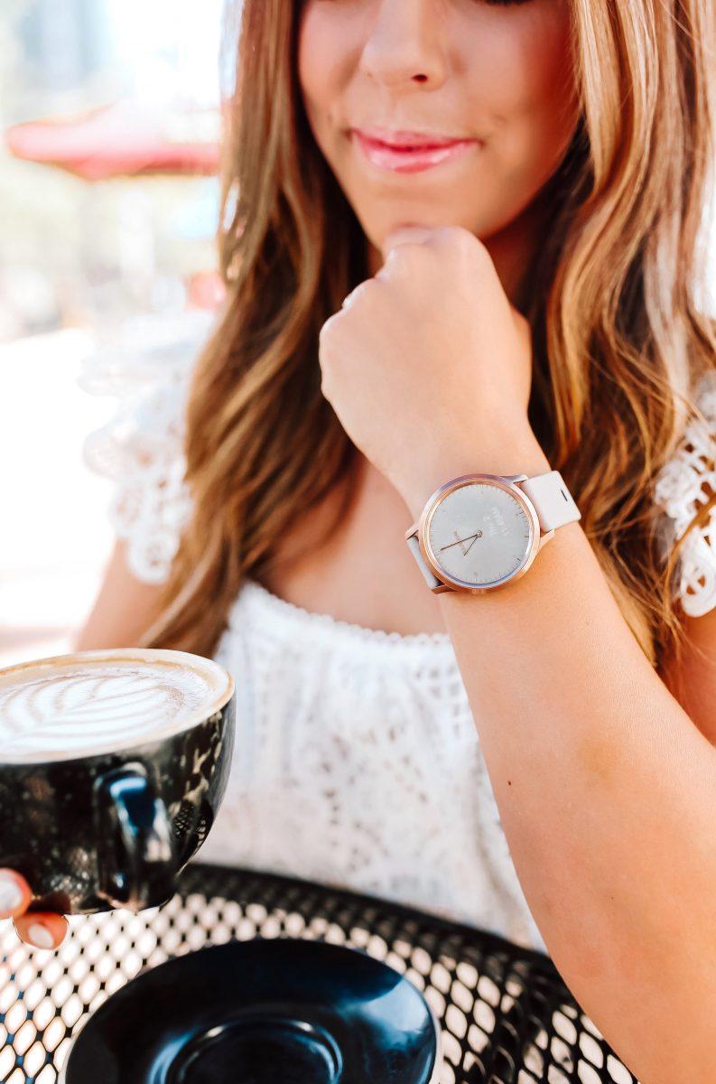 drinking coffee with the Garmin vivomove hr hybrid smart watch