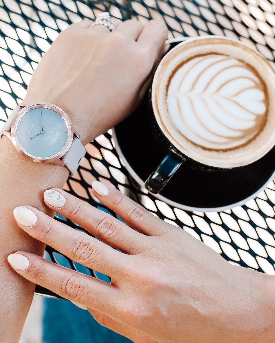 coffee break with a Garmin vivomove hr watch