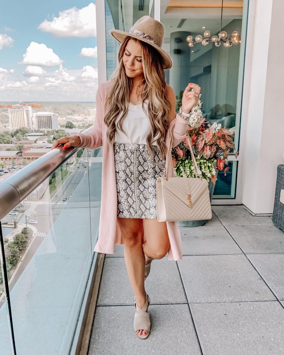Nordstrom anniversary sale 2019 blanknyc snakeskin skirt Leith cardigan